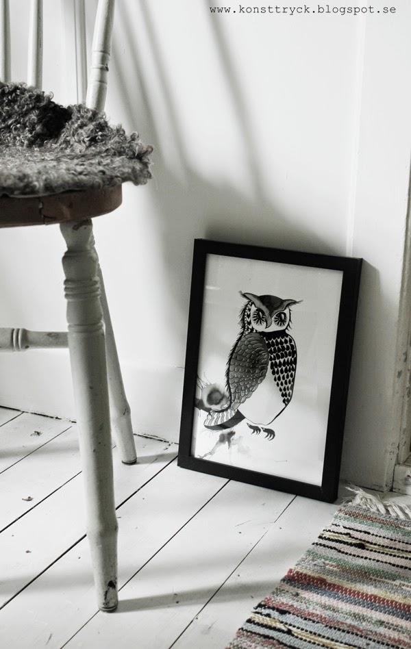 uggla, svartvit tavla, artprint, artprints, konsttryck, poster, tavla, tavlor