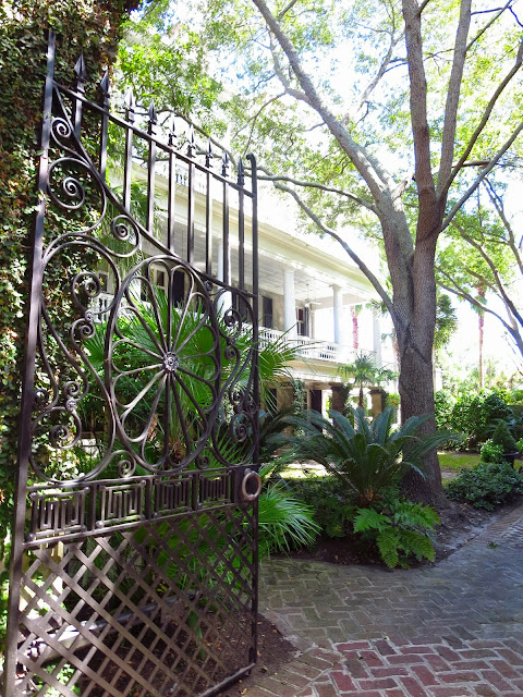 Wrought iron gate and home in Charleston, South Carolina