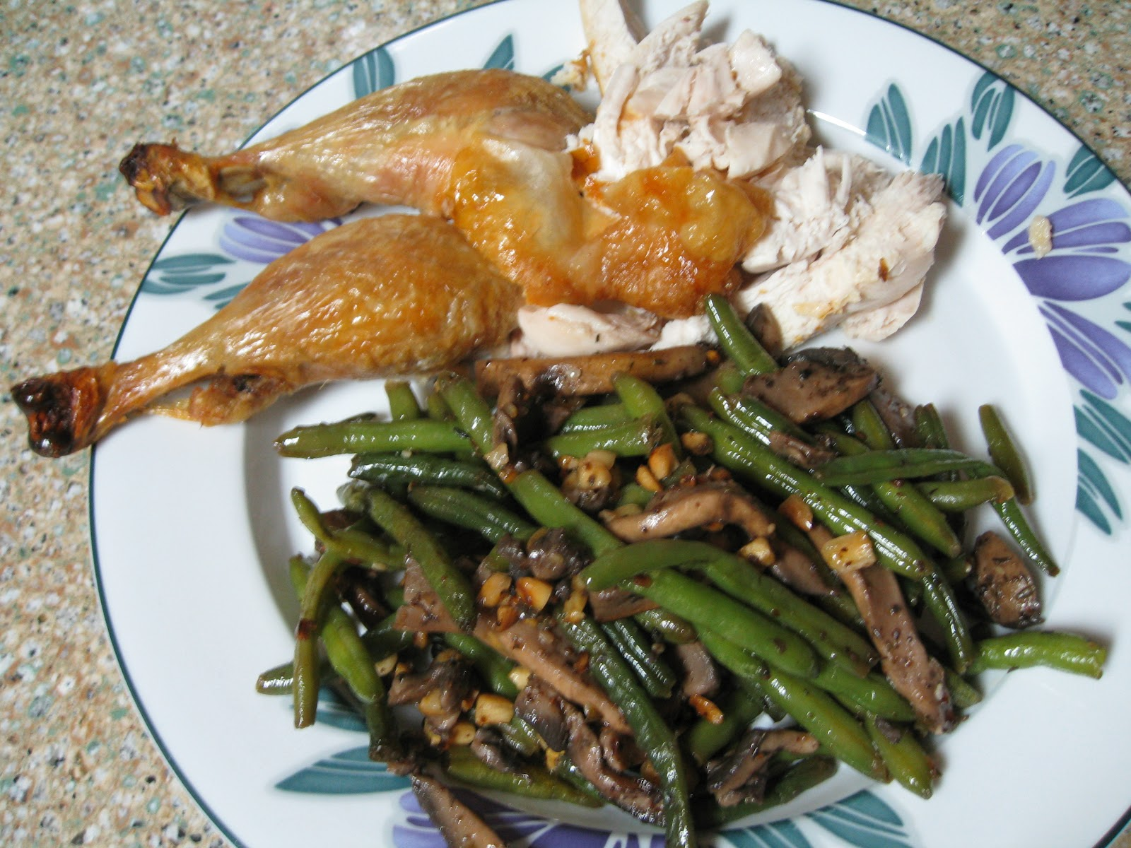 My favorite simple roast chicken with green beans and mushroom ...
