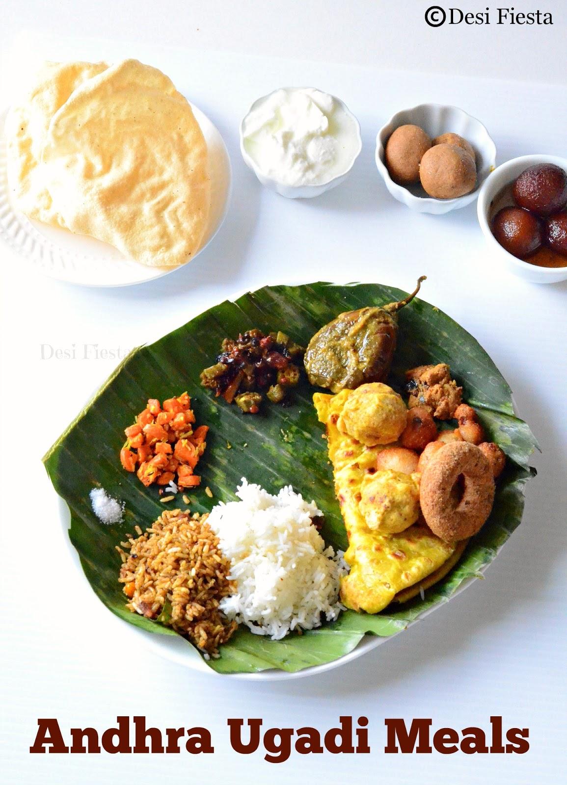 Desi fiesta andhra pradesh ugadi meals adhra pradesh thali for Andhra cuisine vegetarian