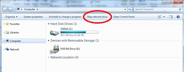 how to share a drive in network