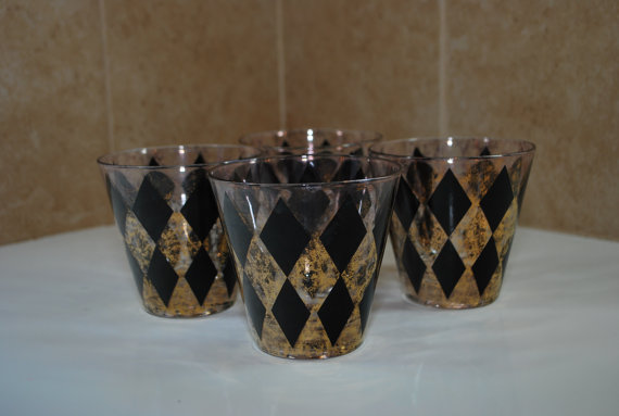 60s harlequin diamond cocktail glasses