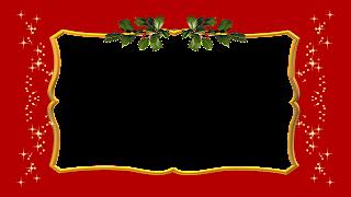 Moldura red e gold com azevinho png