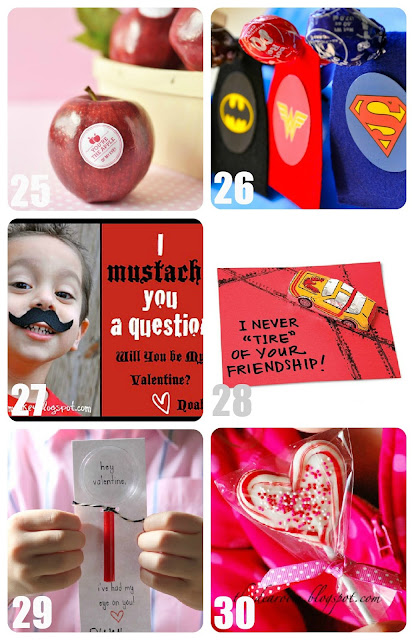 Apple, Superhero, Mustache, Car, Magnifying Glass, and Heart Sucker Valentines for Kids