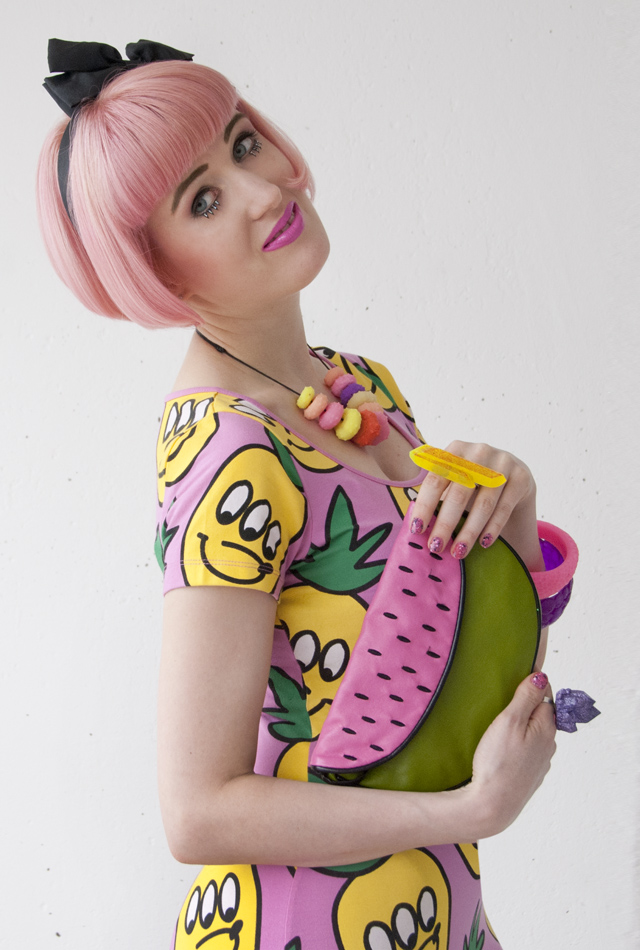 pastel hair, kawaii outfit, pineapple dress, fruity fashion