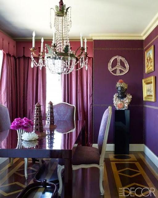 vibrant purple dining room