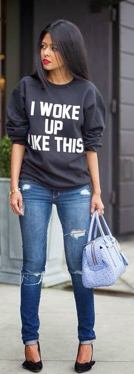Gorgeous Sweater and Jeans with Handbag, Black Shoes
