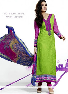 Lisa Hydon Embroidered Work Designer Suits / Praisworthy Cotton Green Straight Dress
