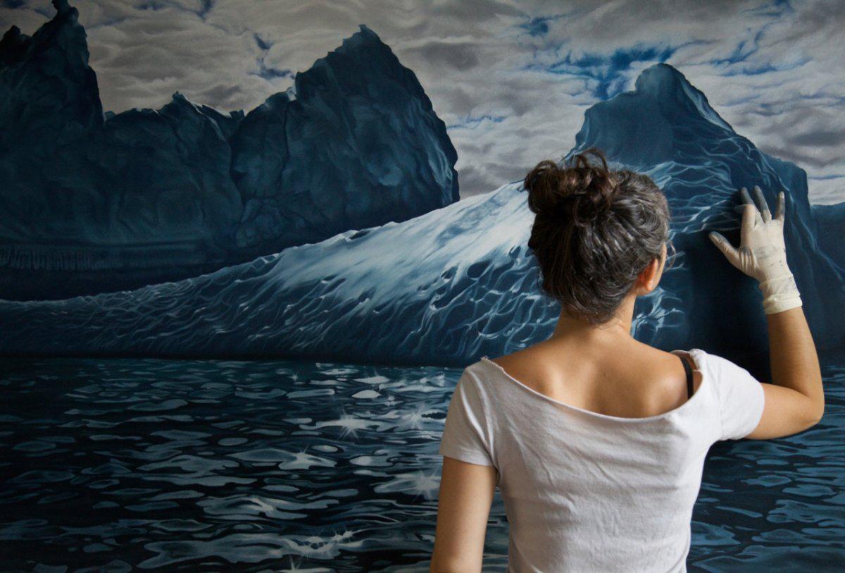 Pintura realista com os dedos  Zaria Forman