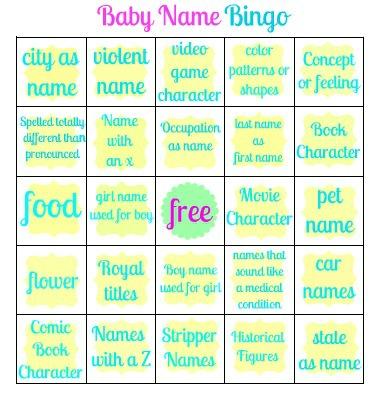 sweet serendipity baby name bingo