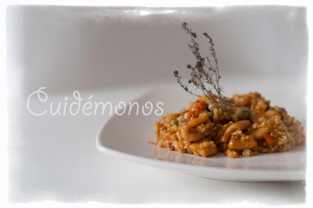arroz integral con calamar y habitas