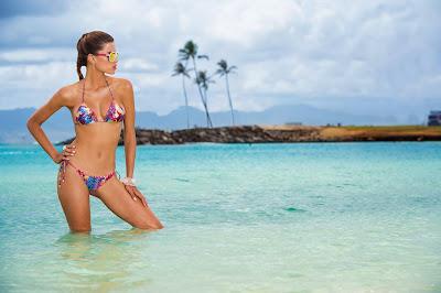 Brazilian model, Raica Oliveira for Bluebeach swimwear photoshoot
