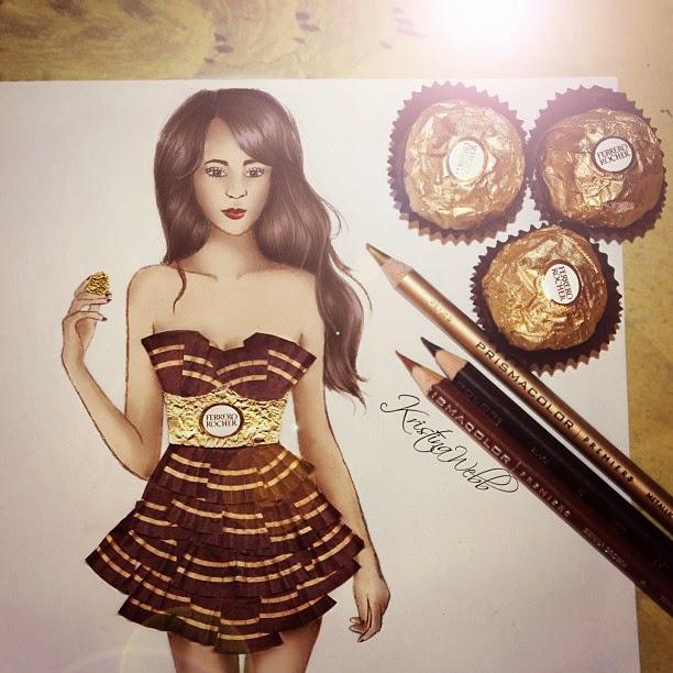 13-Ferrero-Rocher-Dress-Kristina-Webb-Colour-me-Creative-Drawings-www-designstack-co