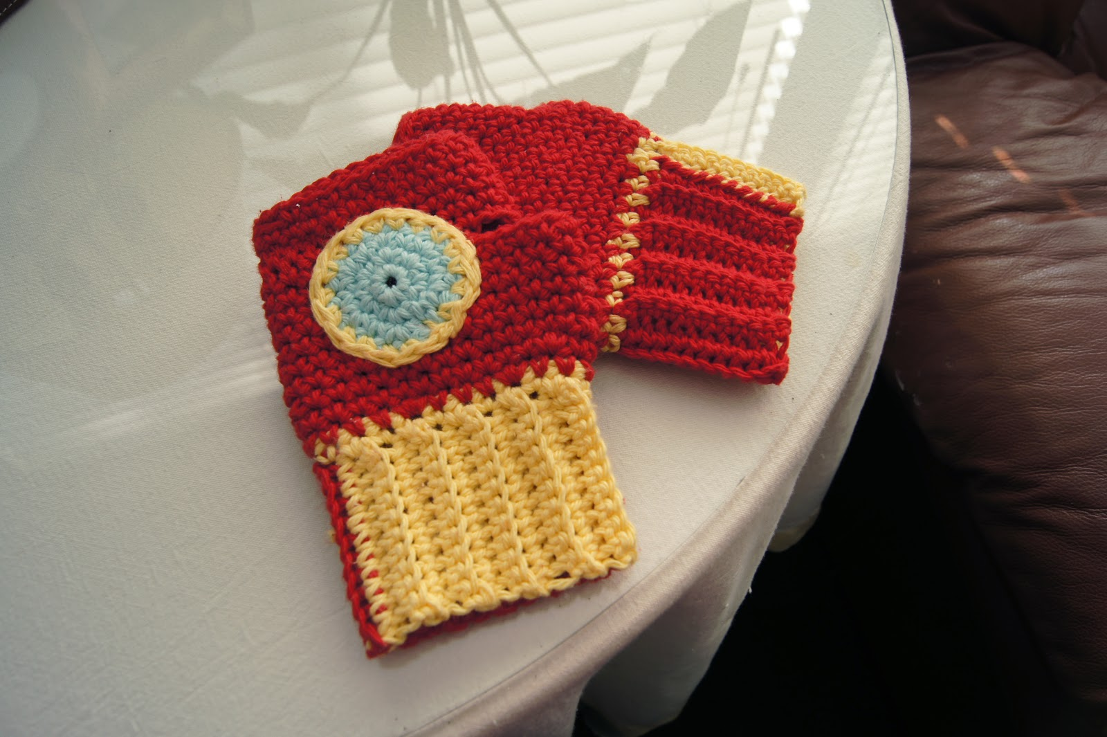 Today's installment of the Superhero Knitting Patterns is Iron Man Patterns. I decided to do knitting and crochet ones for this set. Iron Man Fingerless Gloves – Crochet.