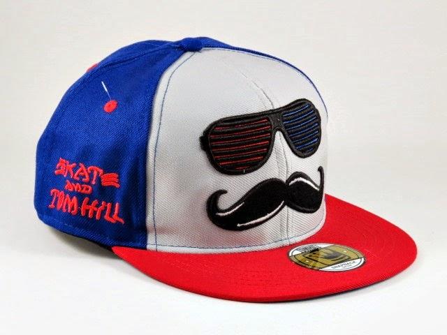 Boné Aba Reta Mustache Azul, Vermelho Snapback - Tom Hill