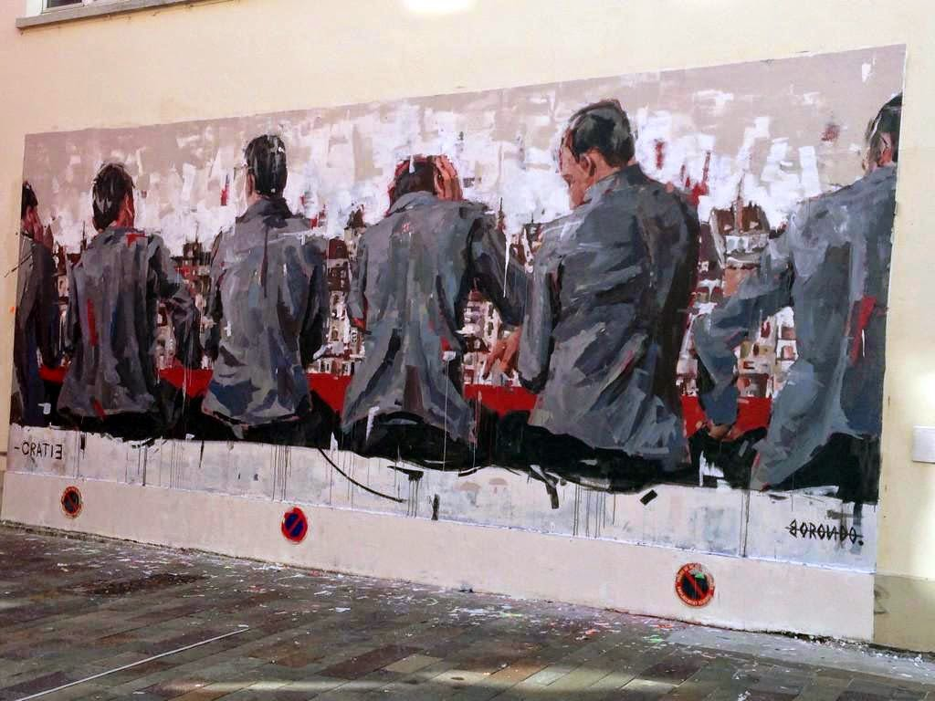 While we last heard from him in London a few weeks ago, Borondo is now in France where he was invited to paint by Le Mur in Mulhouse.