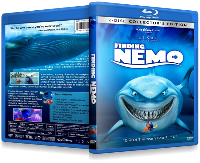 Finding Nemo front and back DVD covers 2003 animatedfilmreviews.filminspector.com