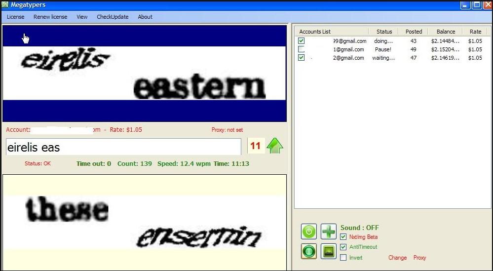 Tampilan Software Multi id Captchapro 2 khung/2 layar
