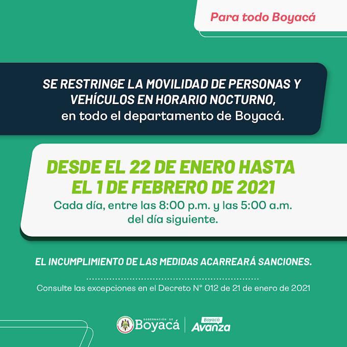 Desde este viernes, toque de queda en 39 municipios de Boyacá, ante el incremento de propagación del COVID-19