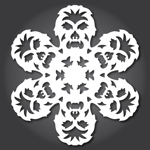 star wars theme snowflakes paper cutting, chewbacca