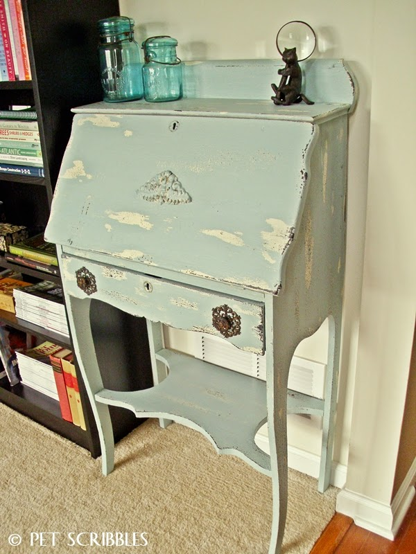 Vintage Inspiration Party #151- the Antique, Vintage, Repurposed & Upcycled  Link Party - Small Antique Secretary Desk Antique Furniture