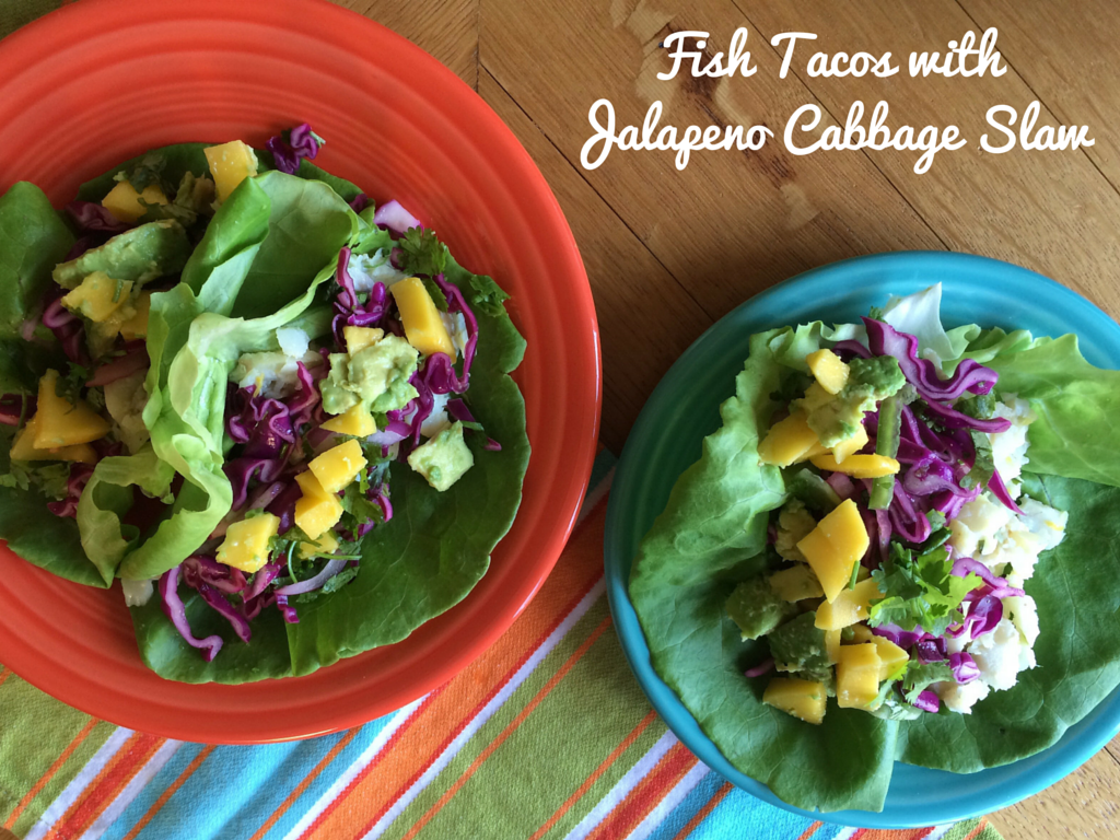 Fish tacos with jalapeno cabbage slaw i don 39 t go to the gym for Fish tacos cabbage