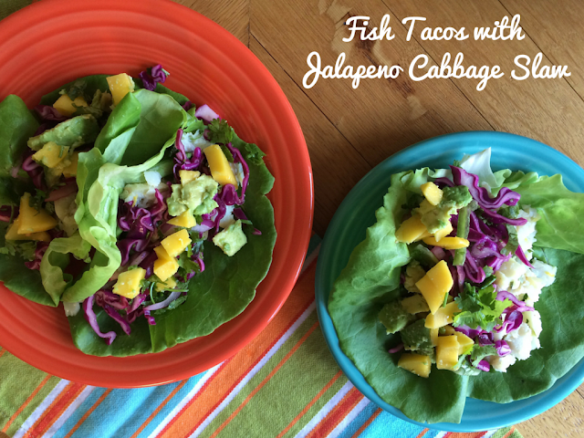 Lettuce wrap fish tacos with spicy cabbage slaw and for Cabbage slaw for fish tacos