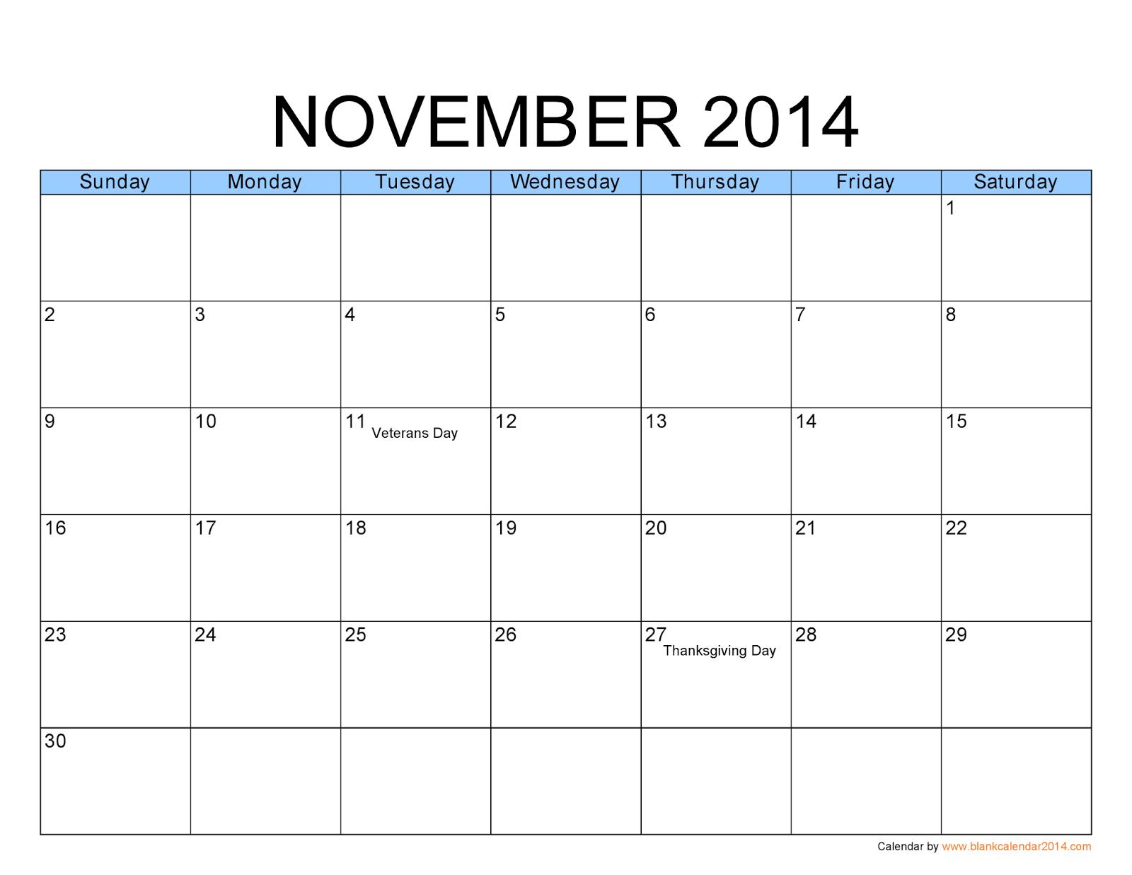 Blank 1 Month Calendar