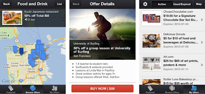 "Browse deals near you in map view/Purchase offers directly from the app/Get instant access to all of your deals in ""My Offers"""