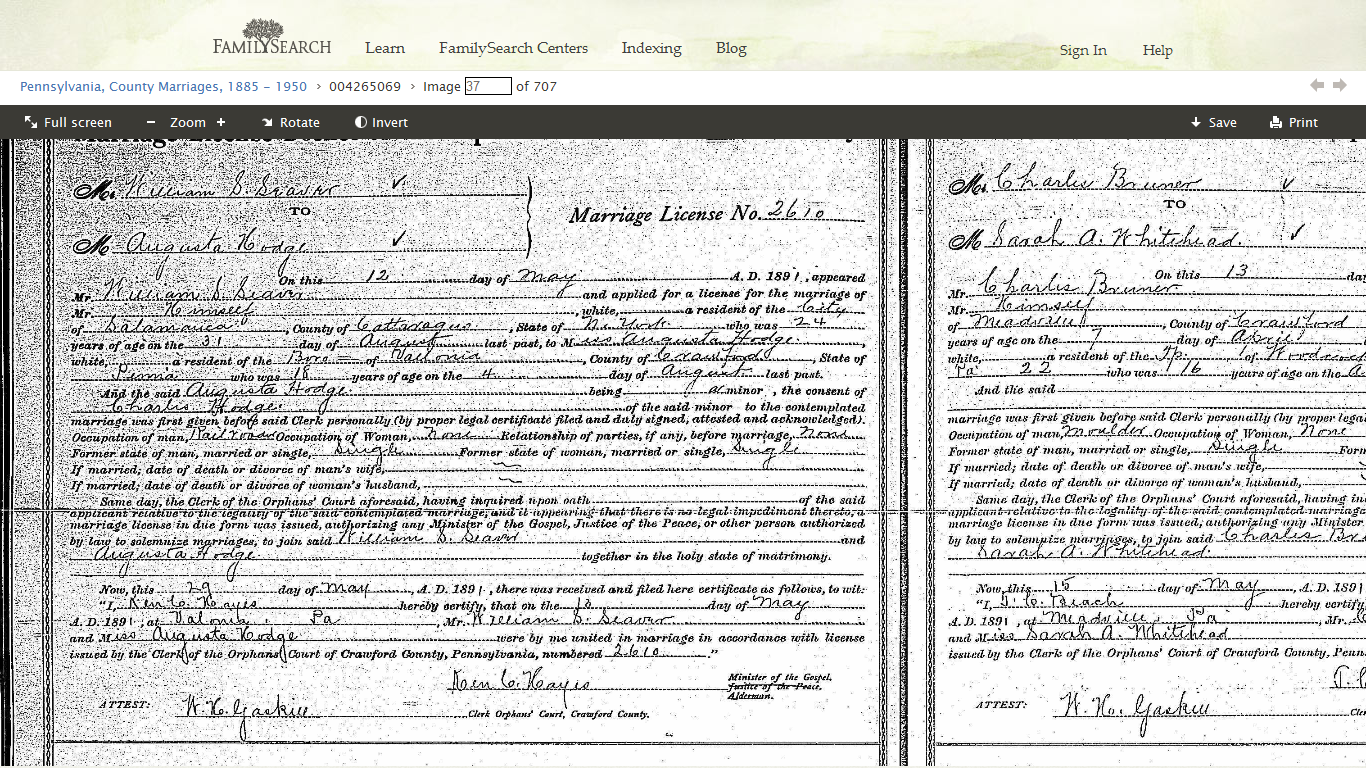 Genea musings pennsylvania marriages 1885 1950 on familysearch i clicked the first one and zoomed in on the image and saw a marriage for a william s seaver and augusta hodge in 1891 in crawford county pennsylvania aiddatafo Images
