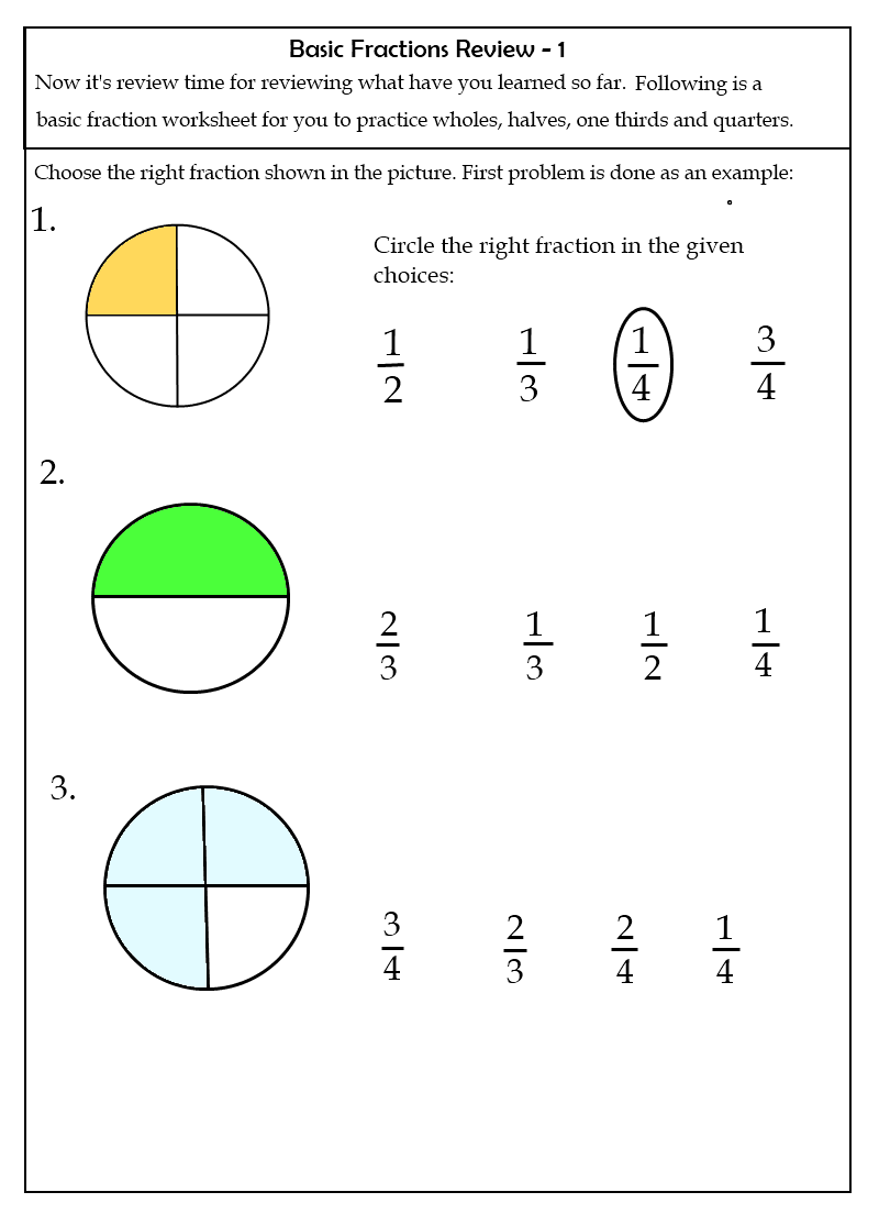 worksheet Simple Fraction my math cafe
