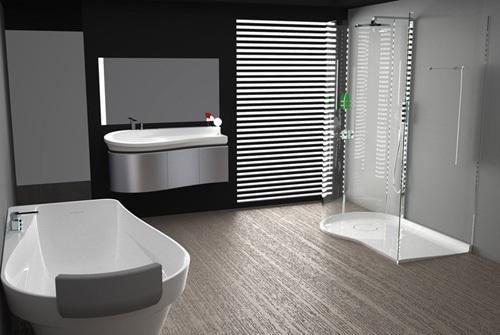 Baño Blanco Piso Gris:Baño Moderno en Negro y Gris: Ideal para HOMBRES