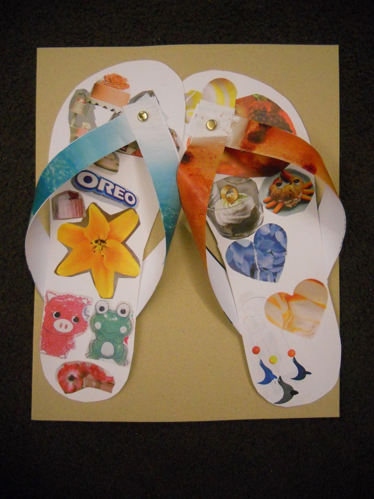 Create art with mrs p dollar store flip flop collage craft lastly we hot glued our flip flops to a piece of sandpaper a pack of 12 is 1 at the dollar store to make our flip flops on a sandy beach so fun publicscrutiny Image collections