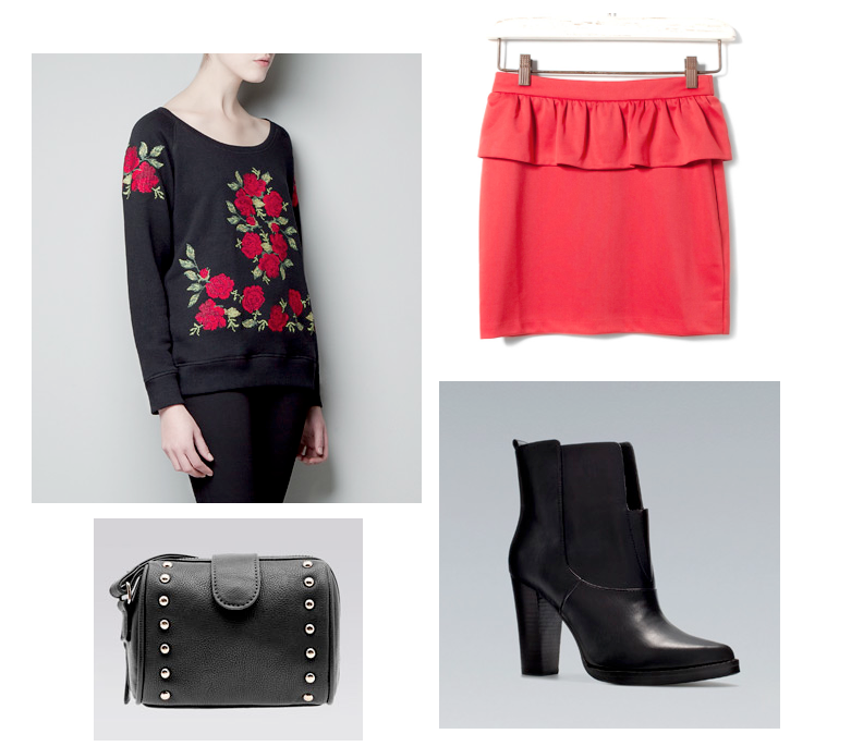 low cost outfit with Zara embroidered sweatshirt and red peplum skirt