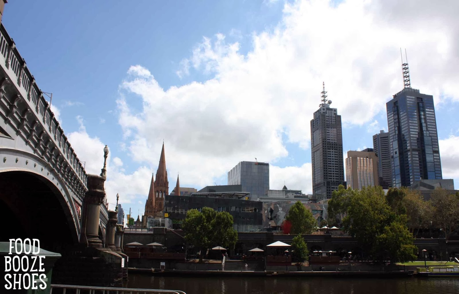 Melbourne Skyline From The Yarra River Southbank