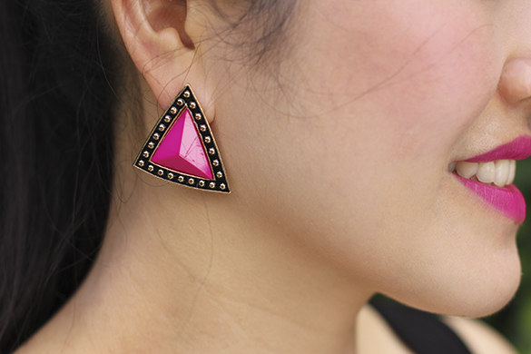 Mouche Fuchsia Triangle Earrings