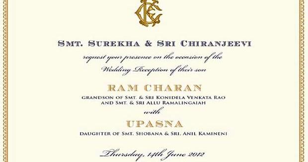 Kapu Naidus Sangam Ram Charan Teja And Upasana Wedding Invitation