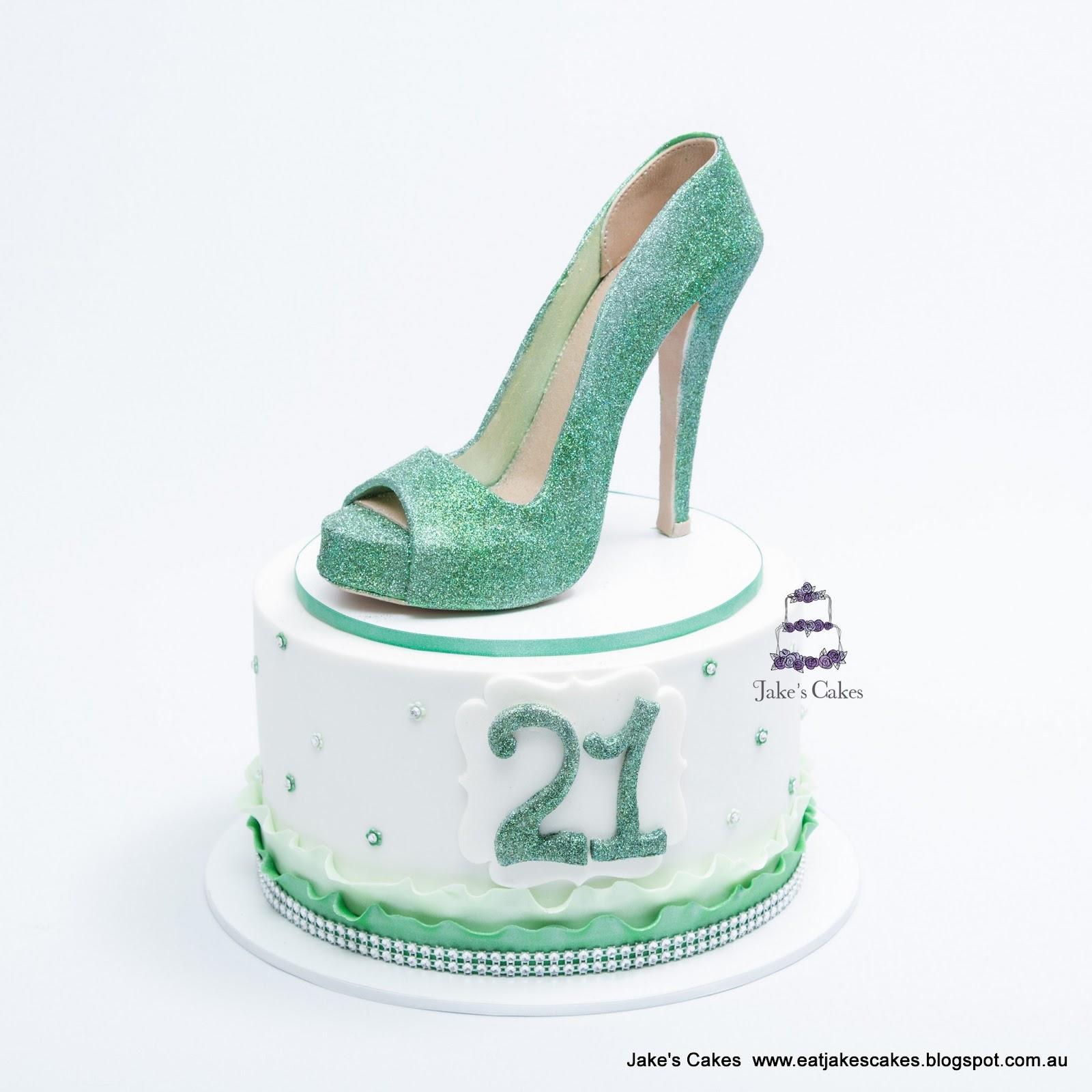 Green Glitter Shoe 21st Birthday Cake