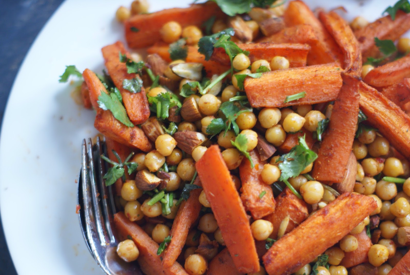 warm carrot and chickpea spiced salad