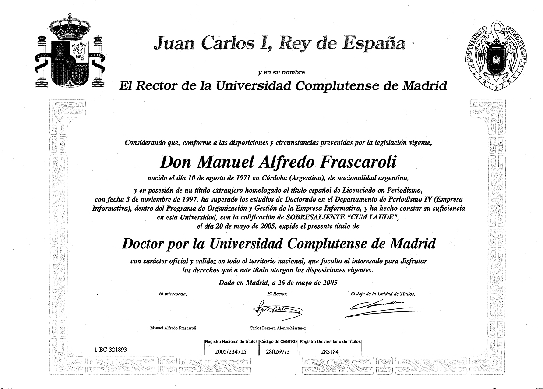Manuel Frascaroli - Academico: Manuel Frascaroli, perfil Académico