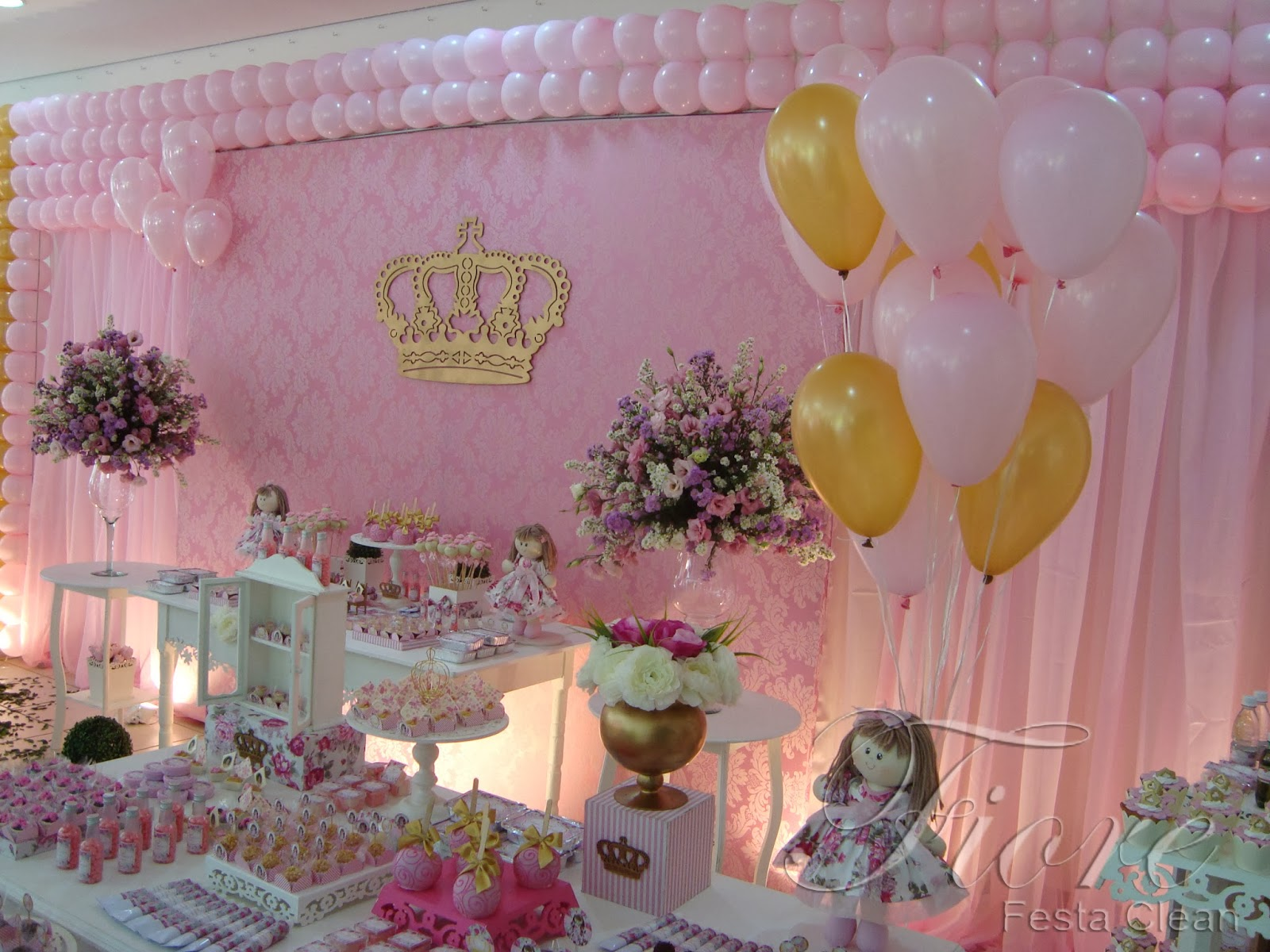 Fiore Festa Clean Festa tema Boneca Floral Princesa -> Decoração De Festa Infantil Realeza Luxo