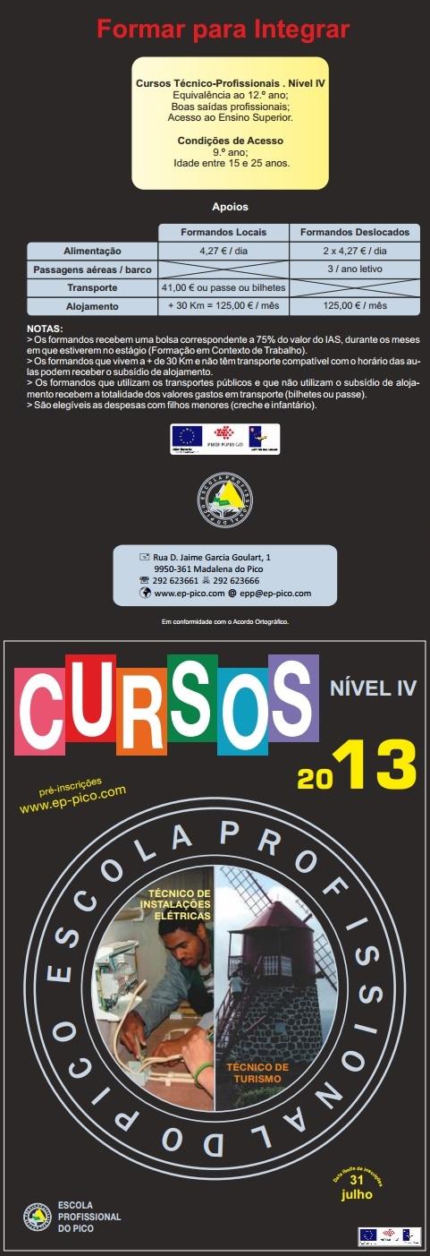 Cursos técnico-profissionais 2013 / 2014 – Escola Profissional do Pico (Açores)