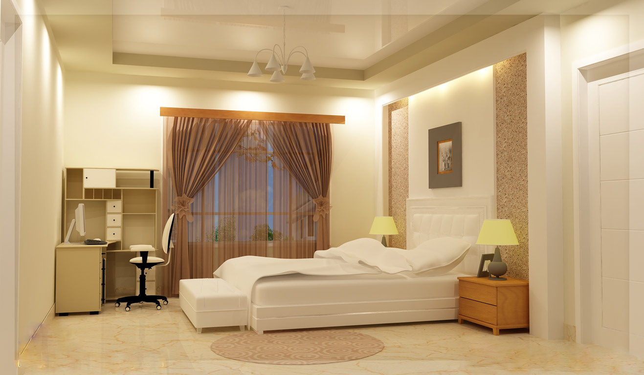 Green homes beautiful bedroom interior for A d interior decoration contractor