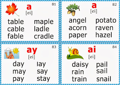 phonics flashcards for teaching English long a sound