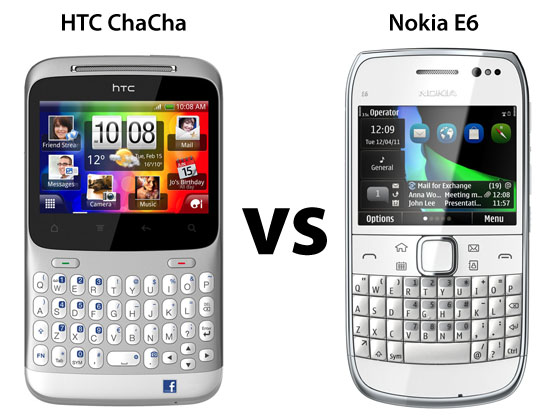 HTC ChaCha vs Nokia E6