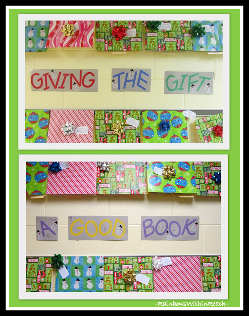"photo of: ""Gift of a Good Book"" Bulletin Board for Christmas via RainbowsWithinReach RoundUP of Christmas Bulletin Boards"