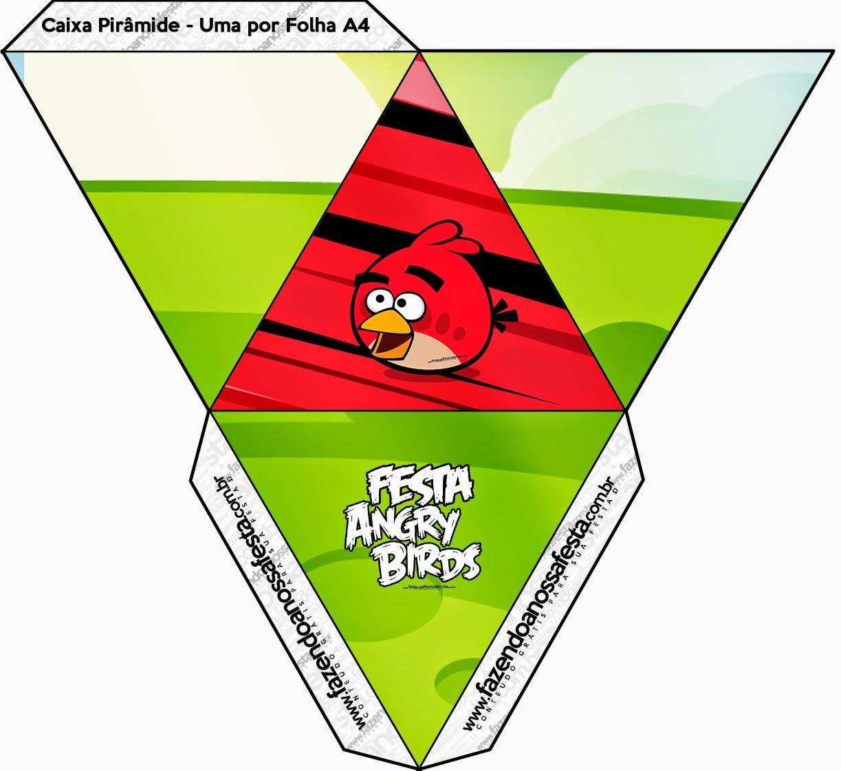 Caja con forma de pirámide de Angry Birds.