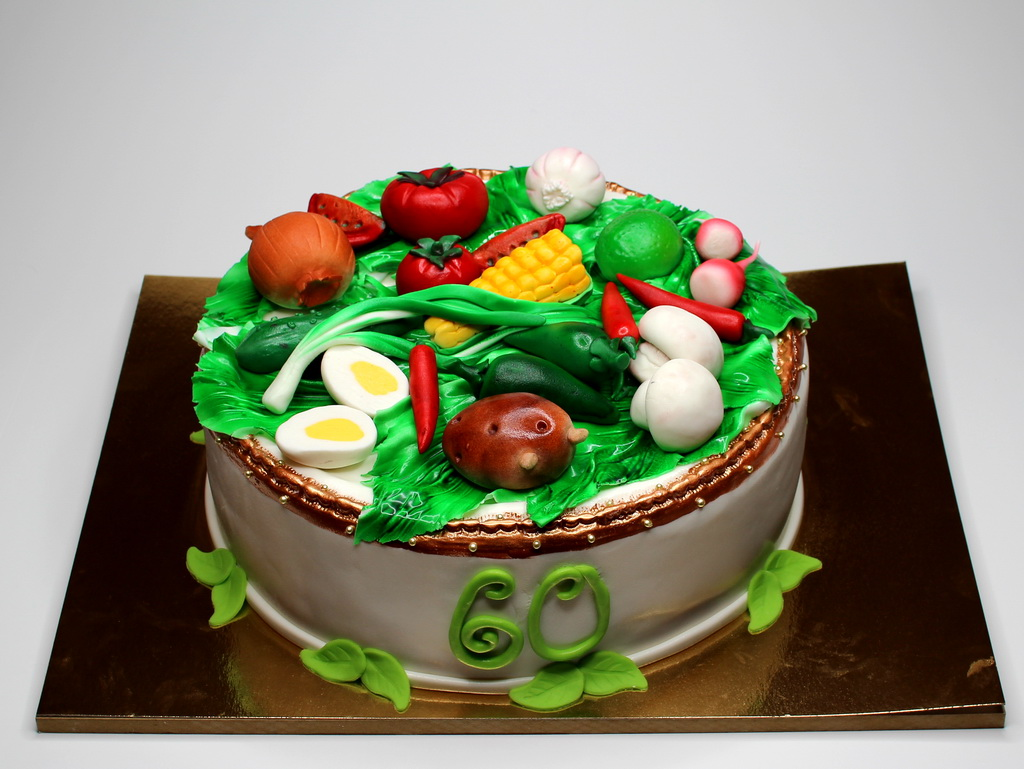 Birthday Cake with Vegetables - Bespoke Cake for Master Chef in London