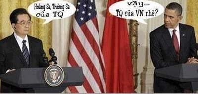 Hình ảnh chế hài hước của Obama - Cảm xúc vui, obama TQ la cua VN