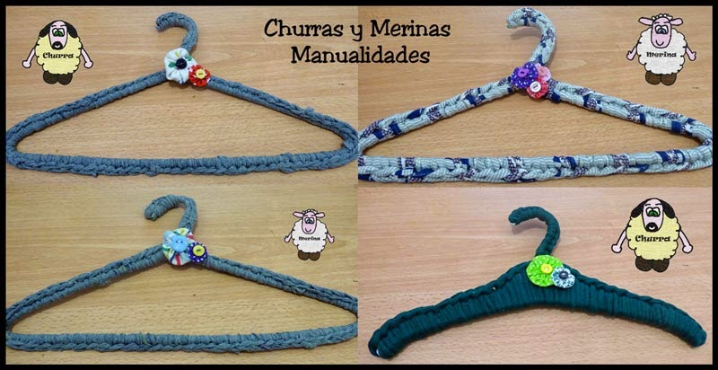 Churras y merinas manualidades perchas decoradas con - Manualidades con trapillo ...